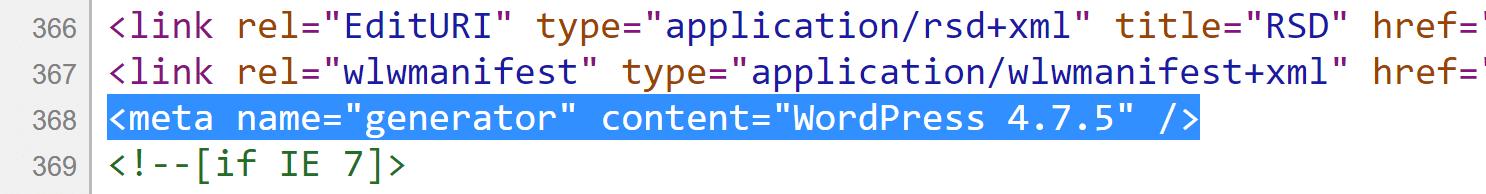 WordPress version meta tag