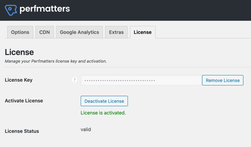 Perfmatters license is activated