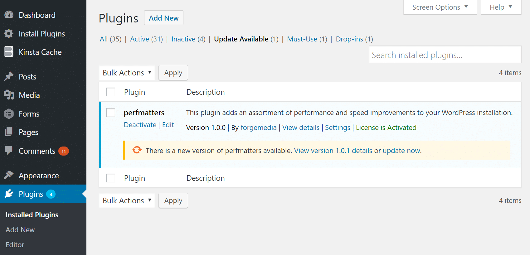 Update perfmatters WordPress plugin