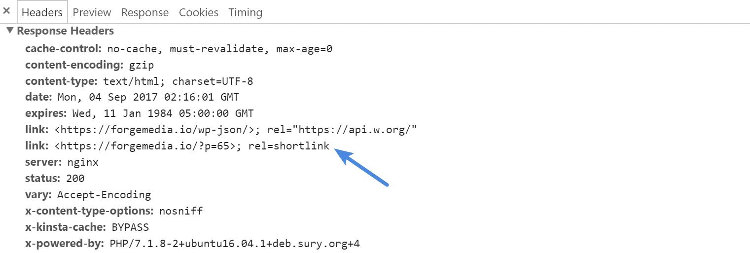 rel=shortlink HTTP response header