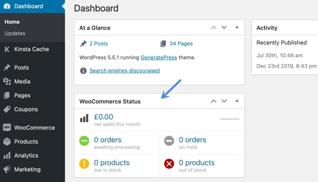 WooCommerce status meta box