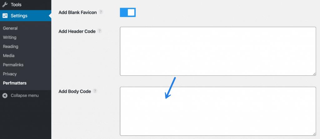 WordPress add code to body