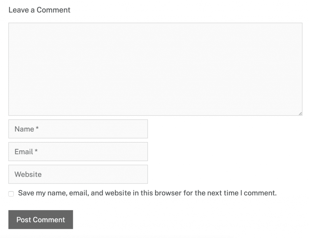 Comment form with website field