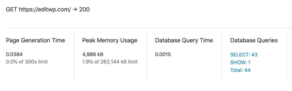 Database query time and queries before