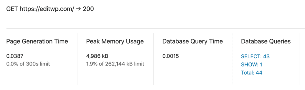 Database query time and queries with MU mode