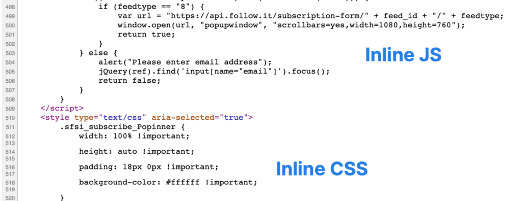 Inline JS and inline CSS