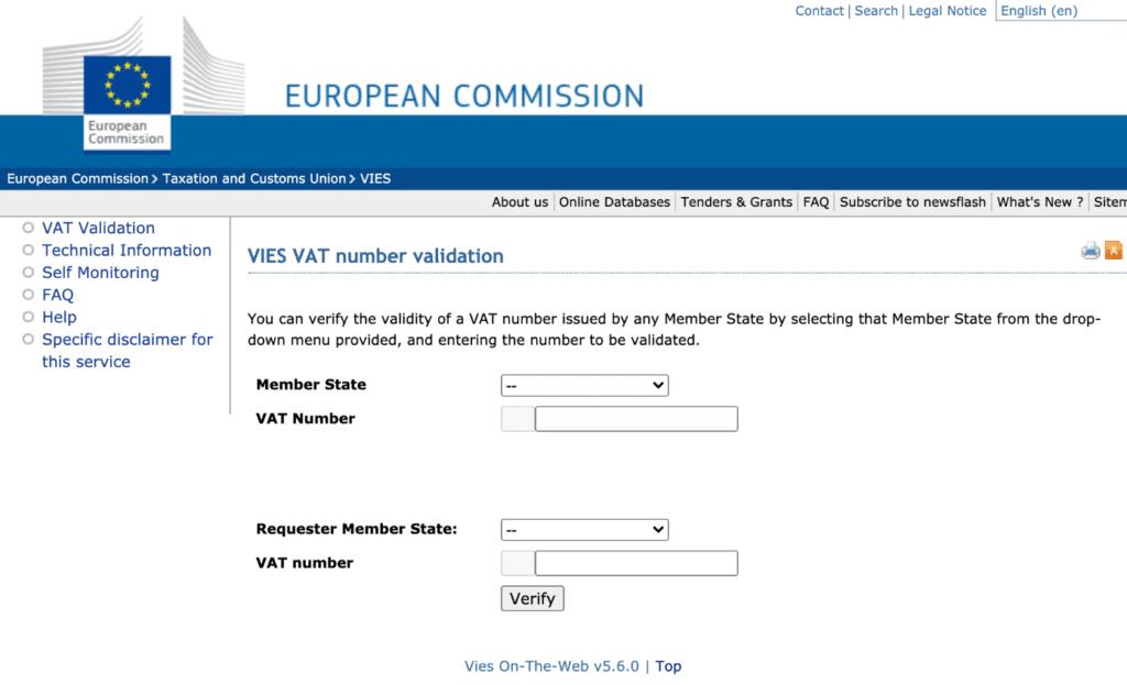 European Commission VAT number validation