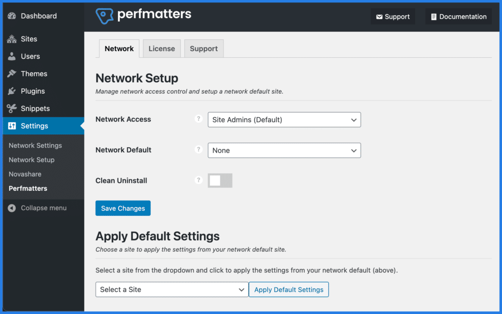Perfmatters multisite support