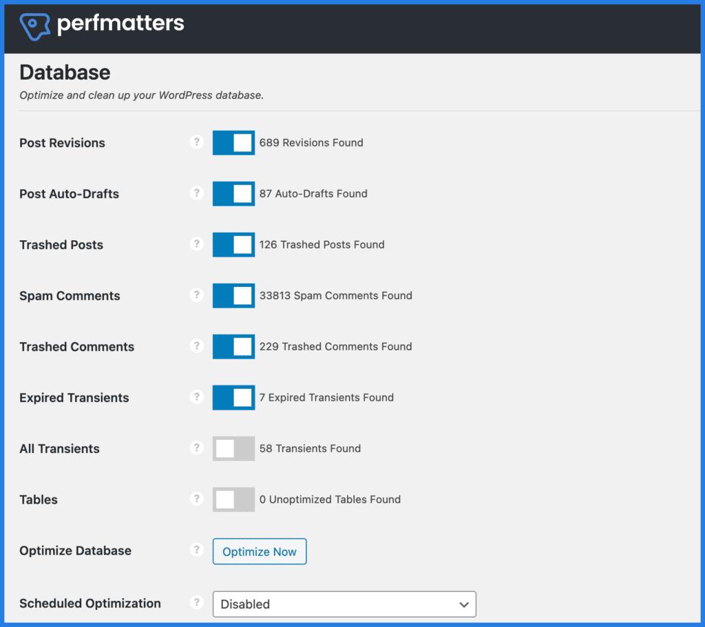 WordPress database optimization in Perfmatters