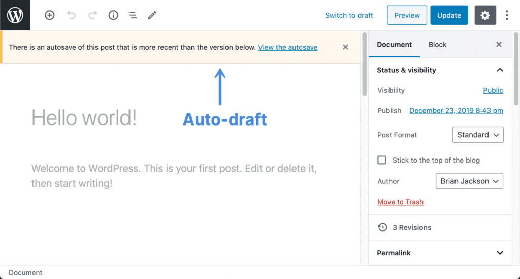 WordPress auto-draft