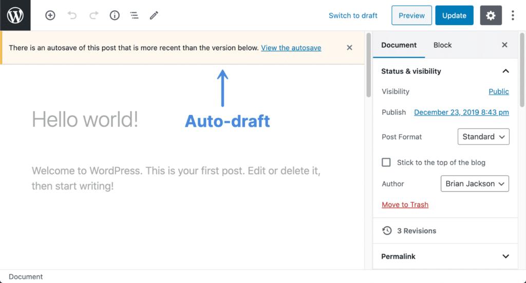 WordPress auto-draft
