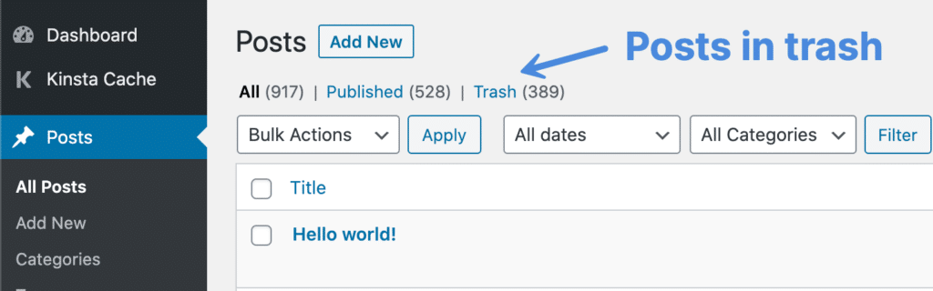 WordPress posts in trash