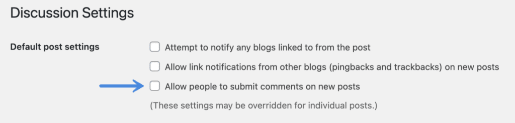 Discussion settings for posts