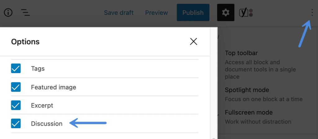 WordPress discussion options