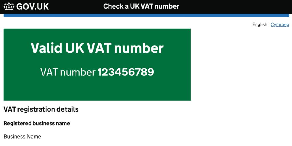 Validate UK VAT number