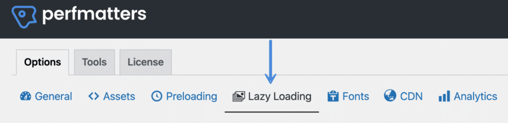 Perfmatters lazy loading menu