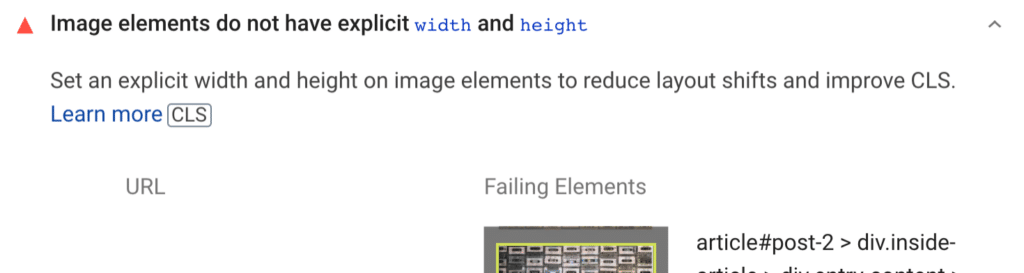 Image elements do not have explicit width and height warning