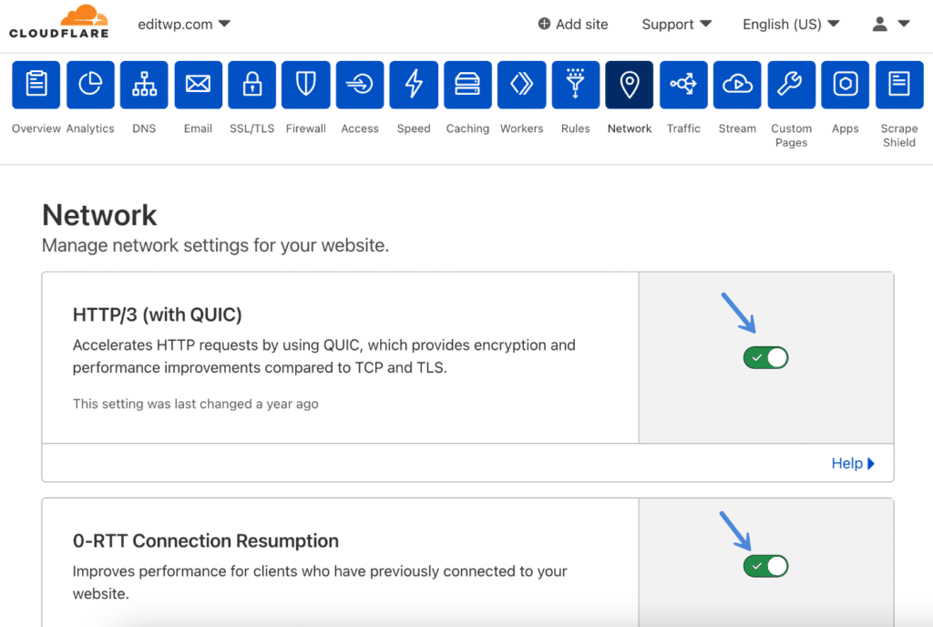 Cloudflare network settings