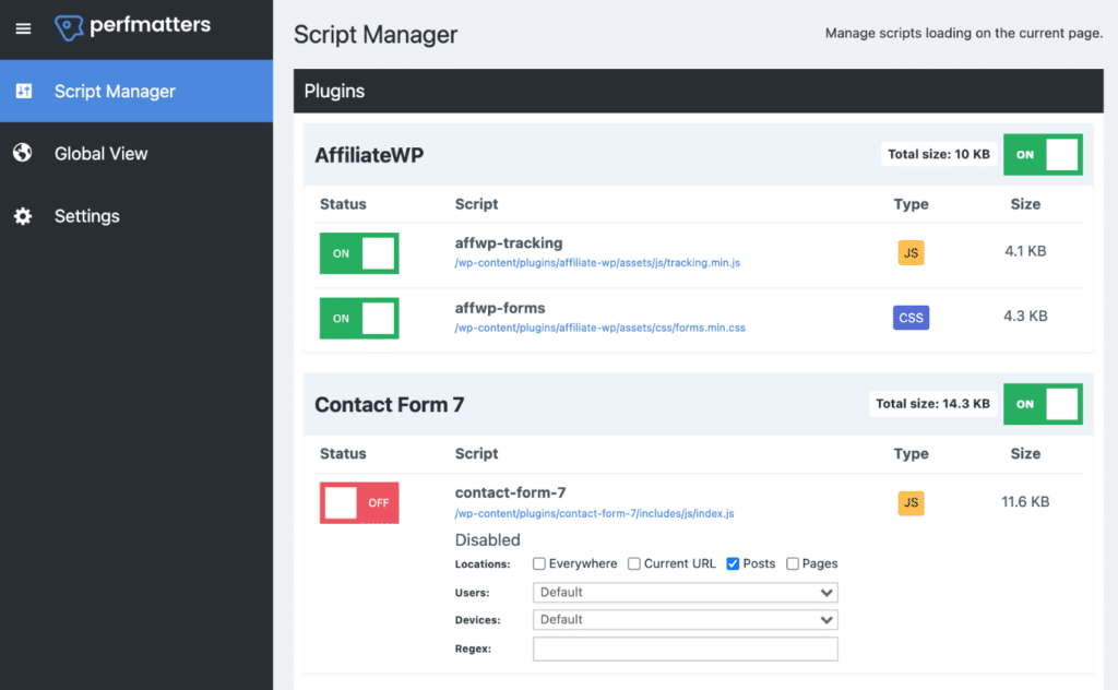 Perfmatters script manager
